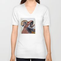 ram V-neck T-shirts featuring Ram  by Woolpecula