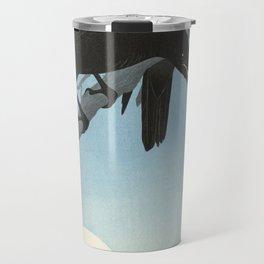 Two crows on a branch, Ohara Koson, 1927 Travel Mug