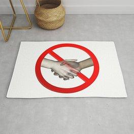 No Hand Shaking Sign Rug