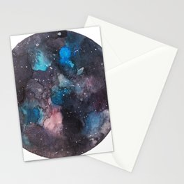 Galaxy round shape with stars Stationery Cards
