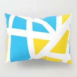 Abstract Interstate  Roadways Aqua Blue & Yellow Color Pillow Sham