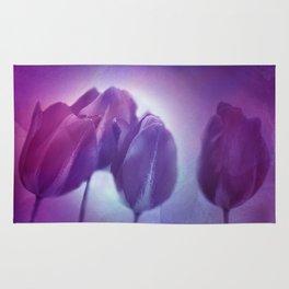 4 purple tulips on watercolor Rug