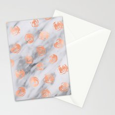 Valentines Day Marble Rose Gold Pink Roses Pattern on Black and White Marble Stationery Cards