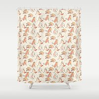 foxes Shower Curtains featuring Foxes by Jen Moules