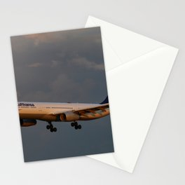 A Lufthansa Plane Peparing For Landing Stationery Cards