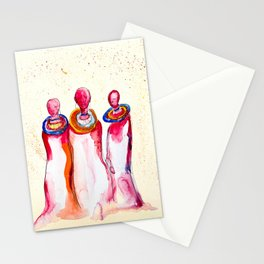 Three Red: Watercolor Painting of Three Figures Stationery Cards