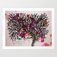Watercolour Leaves Art Print
