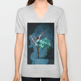 -O1- Blue Ballet Dancer Deep Feelings. Unisex V-Neck