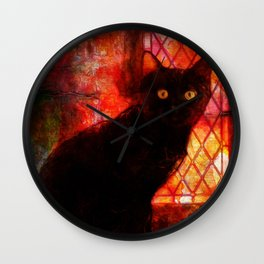 Staring Cat  Wall Clock