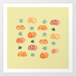 Pumpkins with Leaves on Pale Gold Art Print