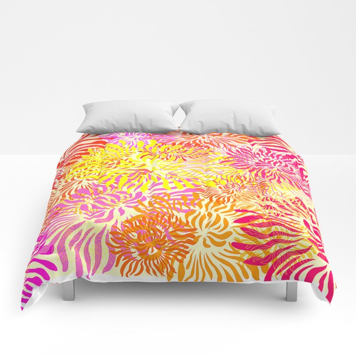 Bright Spring Summer Floral Print Comforters