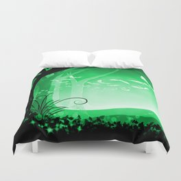 Dark Forest at Dawn in Emerald Duvet Cover