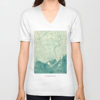toronto V-neck T-shirts featuring Toronto Map Blue Vintage by City Art Posters