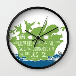 Noahs Ark - Bible - And Noah Did According to All that God had Commanded him Wall Clock