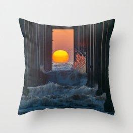 Sunset Through Scripps Pier Throw Pillow