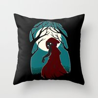 red riding hood Throw Pillows featuring Red Riding Hood 2 by Freeminds