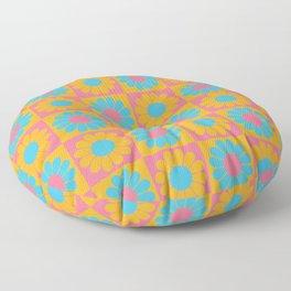 Retro Mod Pop Flower Pattern in Orange and Aqua Floor Pillow