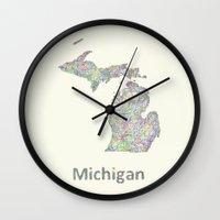 michigan Wall Clocks featuring Michigan map by David Zydd