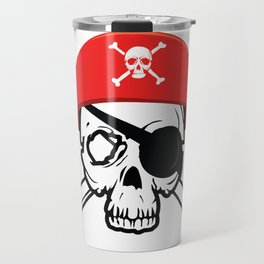 Pirate Skull and Crossbones with Red Hat and Eye Patch Travel Mug