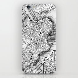 Vintage Map of Downtown Boston (1864) BW iPhone Skin