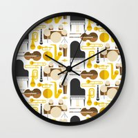 mortal instruments Wall Clocks featuring Jazz instruments by Ana Linea