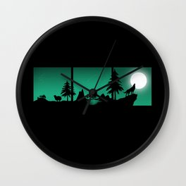 The sheep and the wolf in the woods Wall Clock