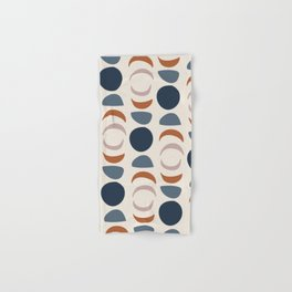 Moon Phases Pattern in blue, terracotta, pink Hand & Bath Towel