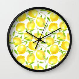 Lemons and leaves  pattern design Wall Clock