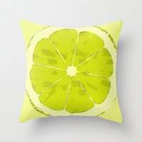 lime Throw Pillows featuring Lime by Avigur