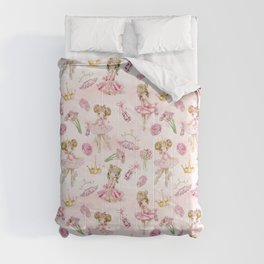 Gold Glitter Ballerinas and Flowers Comforters