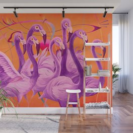 Purple Flamingo Wall Mural