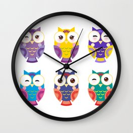 bright colorful owls on white background Wall Clock