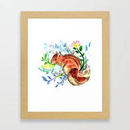 Cute Korea squirrel in sping flowers Framed Art Print
