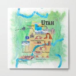 USA Utah State Travel Poster Illustrated Art Map Metal Print