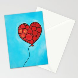 I Love You - Floating heart painting by Labor of Love artist Sharon Cummings. Stationery Cards