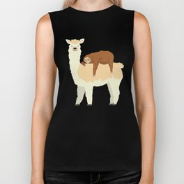 Cute Llama with a Sleeping Sloth Gift Biker Tank