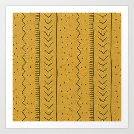 Moroccan Stripe in Mustard Yellow Art Print