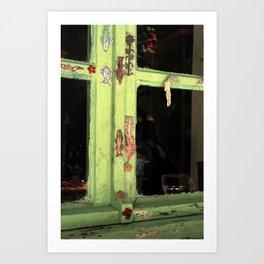 green vintage window Art Print