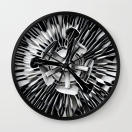 Passiflora Black and White Passion Flower Wall Clock