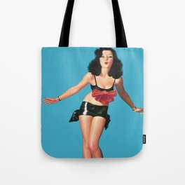 Red Bow - Vintage Pin Up Girl Art Tote Bag