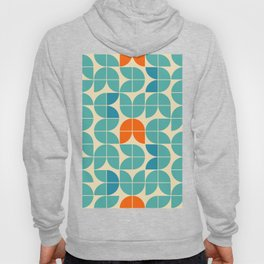 Mid century geometric floral shapes modern illustration pattern. Retro geometrical pattern sixties style. Abstract orange, green turquoise and aqua blue. Hoody