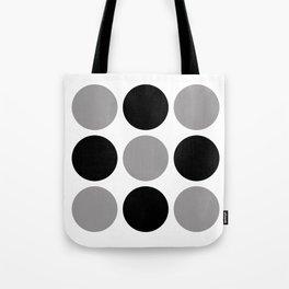 Mid Century Modern Polka Dot Pattern 9 Black and Gray Tote Bag