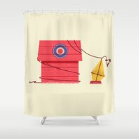peanuts Shower Curtains featuring The Red Baron or Snoopy's Doghouse by Ryder Doty