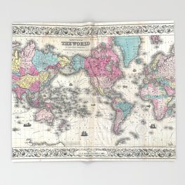 1857 Colton Map of the United States of America Throw Blanket