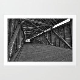 Barrackville Covered Bridge Architecture - Black and White Art Print