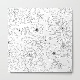 Dahlia Summer Tropical Art in White Metal Print