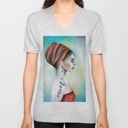 Woman with turban Unisex V-Neck