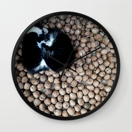 Two little kitties on some nuts Wall Clock
