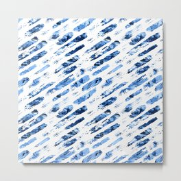 Watercolor blue brush rain Metal Print