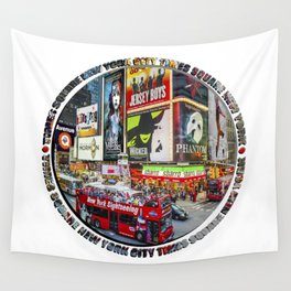 Times Square New York City Badge Wall Tapestry